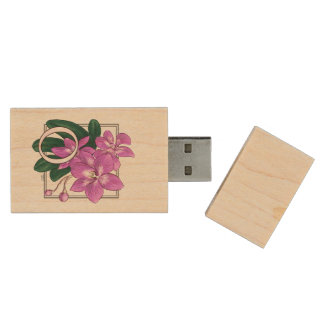 O for Orchid Flower Monogram Wood USB 2.0 Flash Drive