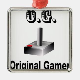 O.G. Original Gamer Silver-Colored Square Decoration