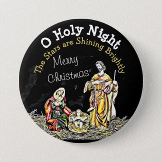 O Holy Night Baby Jesus Christmas Button