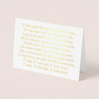 O Holy Night Lyrics Foil Christmas Card