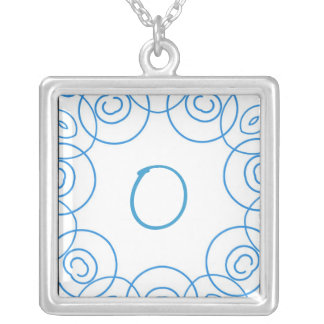 """O"" initial in Blue Scroll on White, Fun Design Custom Necklace"
