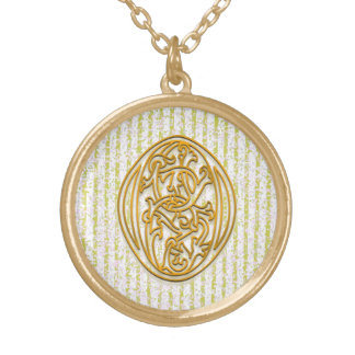 "O Initial Monogram ""Gold Pin Stripe"" Necklace"