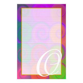"O Monogram ""Colorful Swirls"" Fine Lined Stationery Stationery Design"