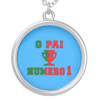 O Pai Número 1 - Number 1 Dad in Portuguese Silver Plated Necklace
