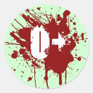 O Positive Blood Type Donation Vampire Zombie Round Sticker