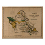 Oahu, 1881, Vintage Hawaii Map Print