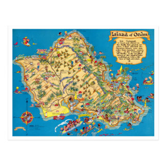 Oahu Funny Vintage Map Post Cards