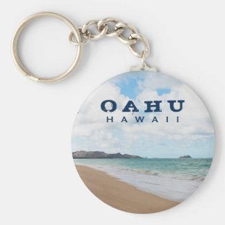 Oahu Hawaii Ocean Waves & Beach Key Ring