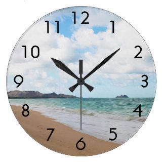 Oahu Hawaii Ocean Waves & Beach Large Clock