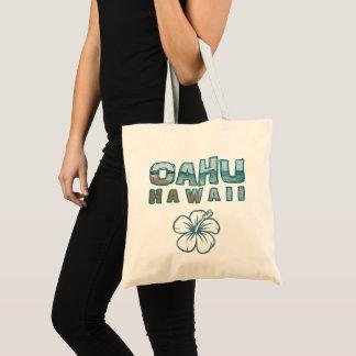 Oahu Hawaii Photo Text & Hibiscus Flower Tote Bag