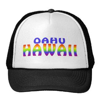 Oahu Hawaii rainbow words hat