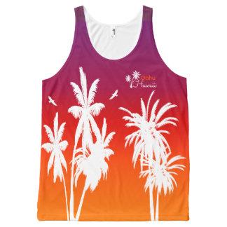 Oahu Hawaii White Palm Trees Purple Sunset Custom All-Over Print Singlet