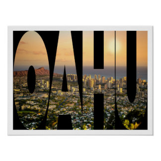 Oahu Honolulu Skyline Photo Typography Border Poster