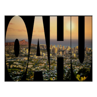 Oahu Honolulu Skyline Photo Typography Modern Poster