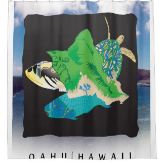 Oahu Island Hawaii Shower Curtain
