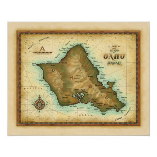 Oahu Island of Hawaii Poster