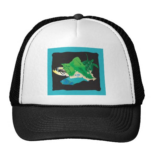Oahu Map - Turtle, Tigger and Parrot Fish Trucker Hat