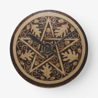 Oak and Acorn Pentacle Wall Clock