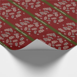 Oak and Holly Solstice Yule Red and Green Wrapping Paper