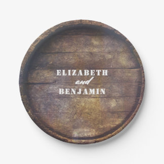 Oak Barrel Bottom Rustic Country Wood Wedding Paper Plate