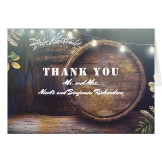 Oak Barrel Rustic Barn Wedding Thank You Card