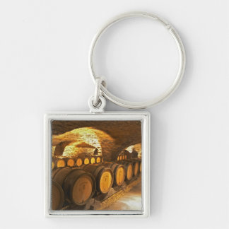 Oak barrles in the cellar at Domaine Comte Silver-Colored Square Key Ring