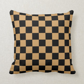 Oak Buff and Black Checkerboard Pattern Cushion