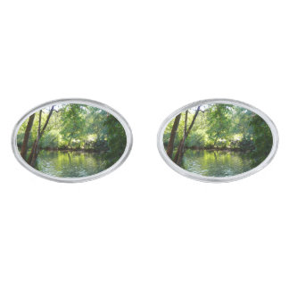 Oak Creek I in Sedona Arizona Nature Photography Silver Finish Cufflinks