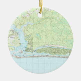 Oak Island North Carolina Map (1990) Ceramic Ornament