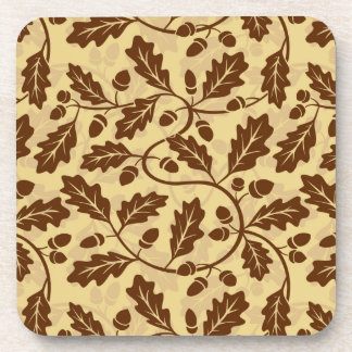 Oak leaf acorn background coaster