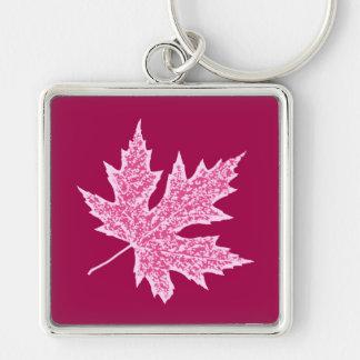 Oak leaf - burgundy wine and pink key ring