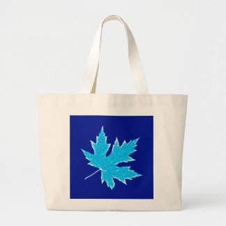 Oak leaf - cobalt, ice blue and white canvas bags