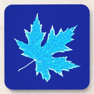 Oak leaf - ice blue and white coaster