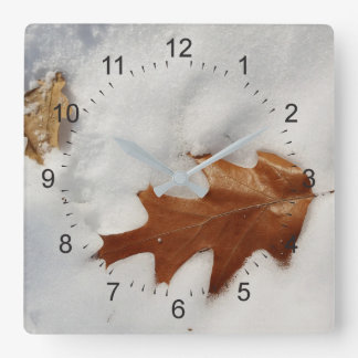 oak leaf on the snow square wall clock