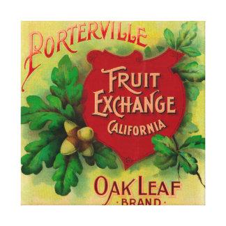 Oak Leaf Orange LabelPorterville, CA Stretched Canvas Prints