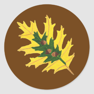 Oak Leaves and Acorns Painting Classic Round Sticker