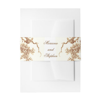 oak tree branches wedding invitation belly band