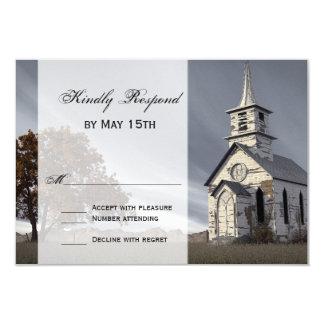 Oak Tree Country Church Wedding RSVP Cards 9 Cm X 13 Cm Invitation Card