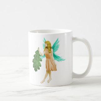 Oak Tree Fairy holding an Oak Leaf Coffee Mug