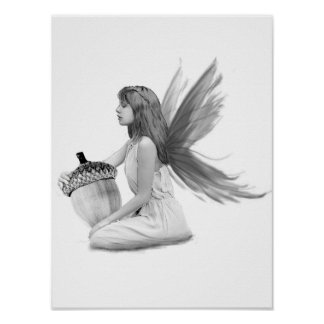 Oak Tree Fairy with Acorn Poster