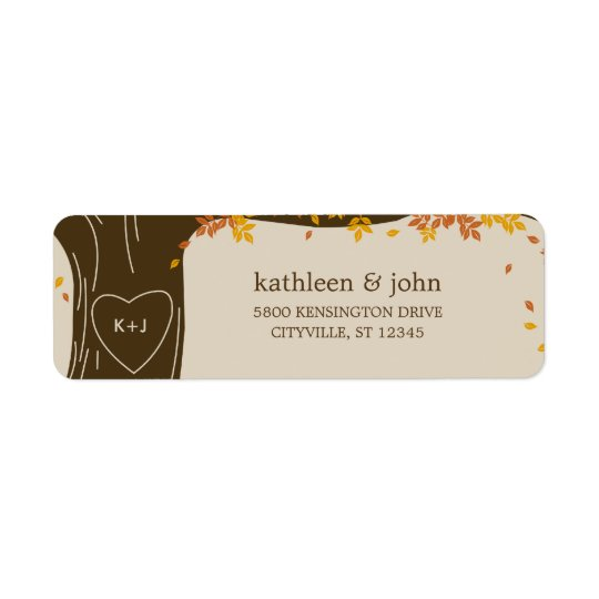 Oak Tree Fall Wedding Address Labels