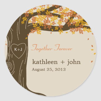 Oak Tree Fall Wedding Favor Sticker