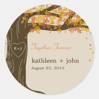 Oak Tree Fall Wedding Favour Sticker