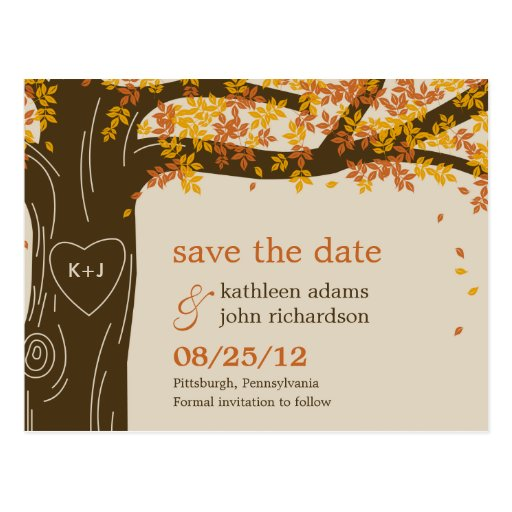 Oak Tree Fall Wedding Save The Date Postcard Postcards