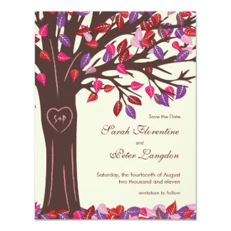 Oak Tree Heart Save the Date Wedding Card