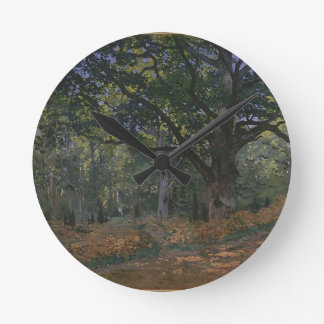 Oak tree in the forest round clock