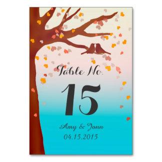 Oak tree lovebirds hearts table numbers love1