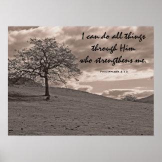 Oak Tree Philippians 4:13 Poster
