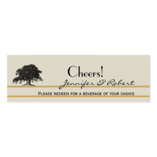 Oak Tree Plantation in Gold Wedding Drink Tickets Business Card Templates