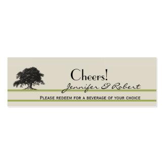 Oak Tree Plantation in Green Wedding Drink Tickets Business Card